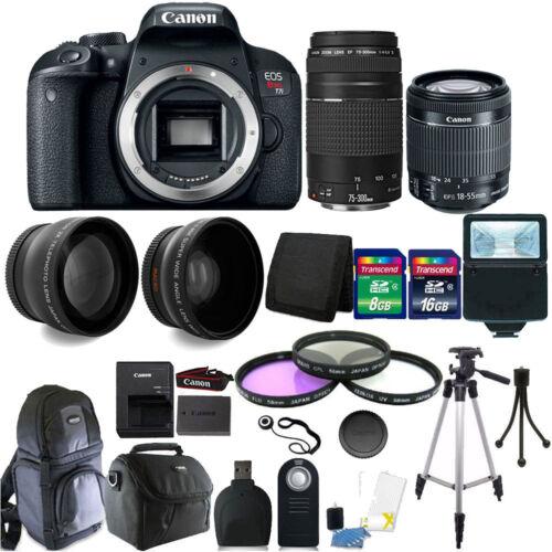 Canon EOS Rebel T7i DSLR Camera + 18-55 STM + 75-300mm Lens + 24GB Accessory Kit