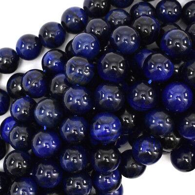 Tiger Eye Gemstone Beads - Blue Tiger Eye Round Beads Gemstone 15.5