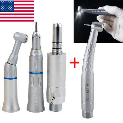 Dental Fiber Optic Led High Low Speed Handpiece Kit Push 2 Hole Turbine