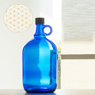 Globo de Cristal Botella 2 Litros Azul Flor de la Vida -...