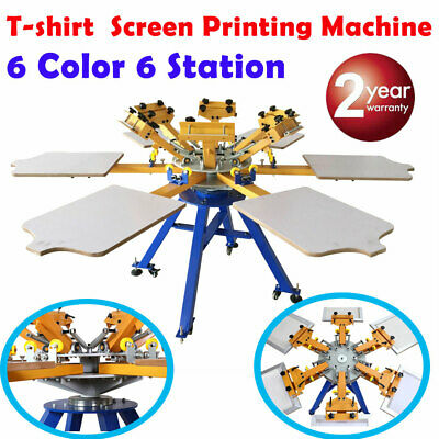 6 Color 6 Station Silk Screen Printing Machine T-shirt Press Printer Carouse