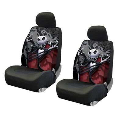 New Set Nightmare Before Christmas Ghostly Jack 2 Front Low Back Seat Covers ()