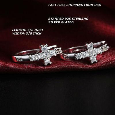 - Women Fashion Jewelry 925 Sterling Silver Plated Cross Rhinestone Hoop Earrings