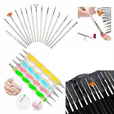 - 20 pcs Nail Art Gel Design Pen Painting Polish Brush Dotting Drawing Tools Set
