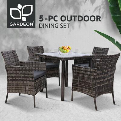 Garden Furniture - Gardeon Outdoor Dining Set Patio Furniture Wicker Garden Table Dining Chair 5PCS