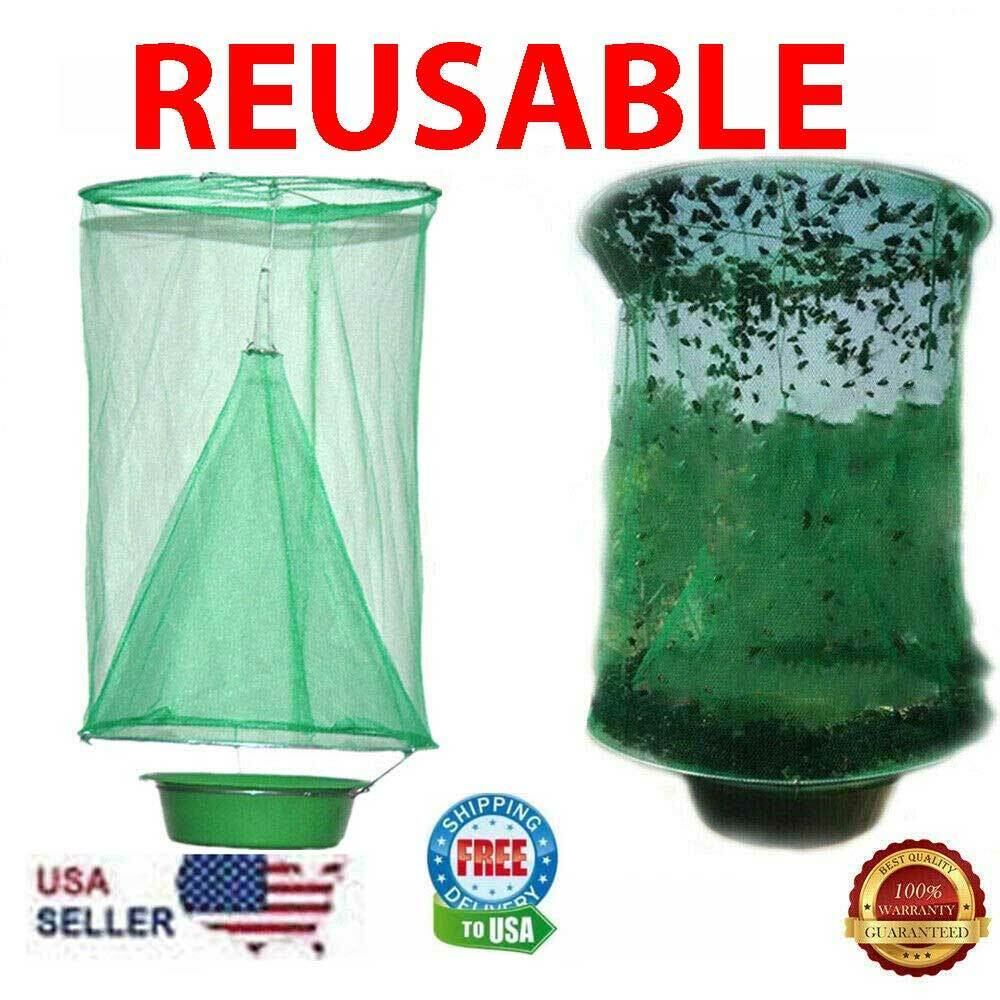 Fly Trap Ranch Reusable Catcher Killer Cage Net Pest Bug Catch Hanging Horse Fly Home & Garden