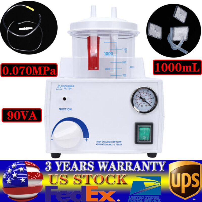 Medical Vacuum Phlegm Portable Suction Unit Aspirator Machine110V 1000mL 90VA US