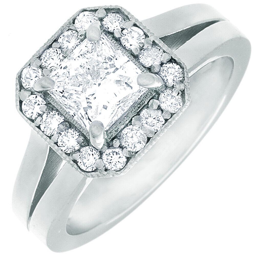GIA Certified Diamond Engagement Ring 1.24 Carat Princess Cut 14k White Gold