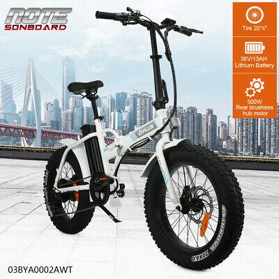"20"" 500W 36V White Folding Electric Fat Tire Beach Snow Bicycle E bike 7 Speed"