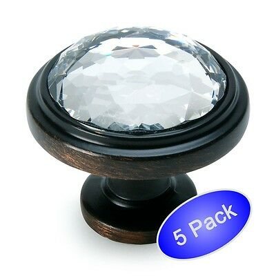 *5 Pack* Cosmas 5317ORB-C Oil Rubbed Bronze & Clear Glass Round Cabinet Knob