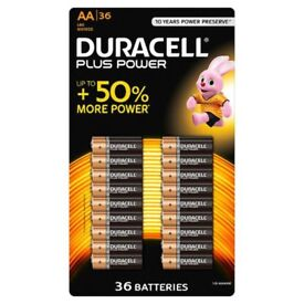 Duracell Plus Power AA Alkaline Batteries. Pack of36. Best Before March 2027.