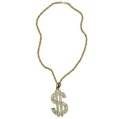 70s Jahre 80s Jahre Dollar Halskette Hiphop Style Kostüm Zubehör
