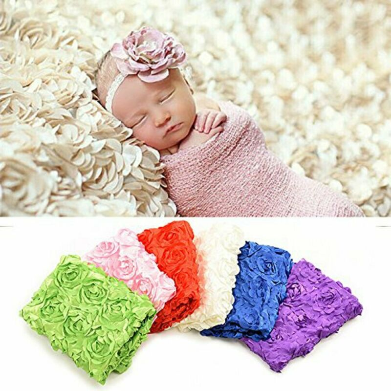 Pink Photography Prop Rug For Newborn Baby Photo 3D Rose Flower Backdrop Blanket