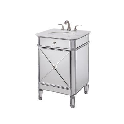 Marble Bathroom Storage Cabinet - MIRRORED CONTEMPORARY MARBLE BATHROOM 1 DOOR SILVER STORAGE VANITY SINK CABINET