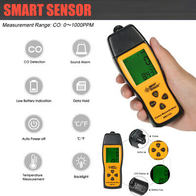 Handheld LCD Carbon Monoxide Meter Detector CO Gas Tester Monitor 0-1000ppm T0A7