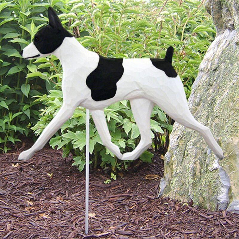 Rat Terrier Outdoor Garden Sign Hand Painted Figure Black/White