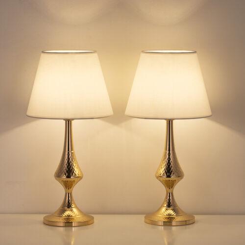 Modern Table Lamps 2 Pack Linen Metal Base for Living Room F