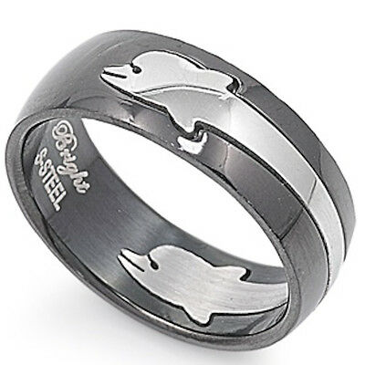 BLACK PLATED WITH DOLPHIN DESIGN 316L Stainless Steel Ring Sizes 7-14 (316l Stainless Steel Dolphin)