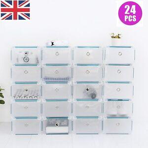 24 Plastic Drawer Shoe Storage Box Clear Stackable Organiser Transparent Folding