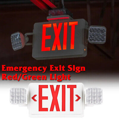 2 Pack Dual Led Exit Sign Emergency Light-redgreen Compact Combo Ul Comborjr2
