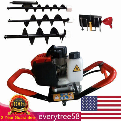 52cc 2.3hp Gas Powered Post Hole Digger With 4 6 8 Earth Auger Digging Engine