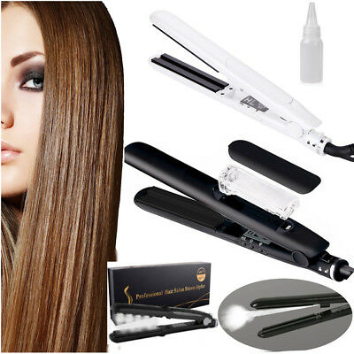 Professional Argan Oil Vapor Ceramic Flat Iron Steam Styler Hair Straightener