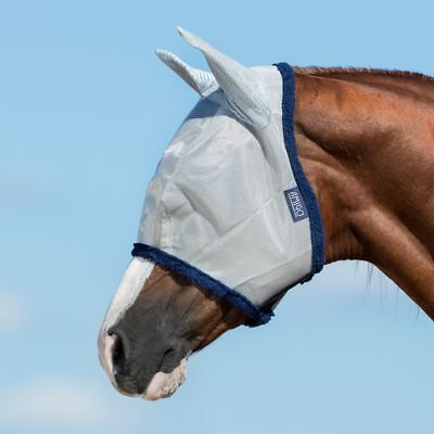 Mesh Maske (Horseware Amigo Fine Mesh Fly Mask with ears - Silver/Navy - Fliegenmaske)