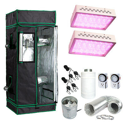 "48x48x80"" Grow Tent Kit w/ 600w LED Light & Fan + Carbon Filter Combo 4'x4'"
