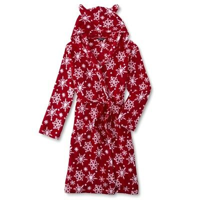 Christmas Girls Bath Robe Size 6-7-8-10-12-14-16 Snowflake Red Pajamas Hood NEW](Girls Size 14 Christmas Pajamas)