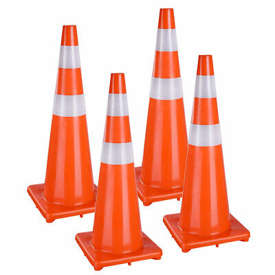 """4 Pcs 36"""" Traffic Safety Cones Reflective Collars Overlap Parking Construction"""