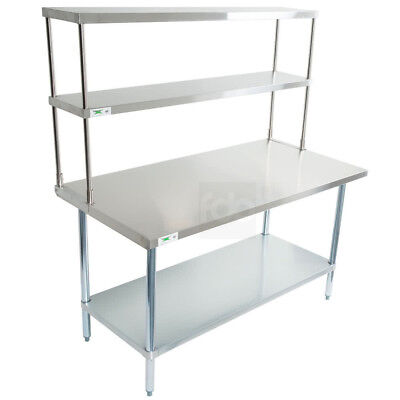 30 X 60 Stainless Steel Work Prep Table Commercial Overshelf Double Over Shelf