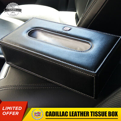 Cadillac Leather Auto Car Tissue Box Cover Napkin Paper Holder Towel Dispenser