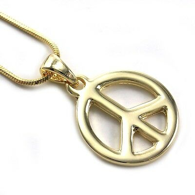 Peace Sign Charm Pendant Necklace High Polish Gold Tone Snake Chain Jewelry -