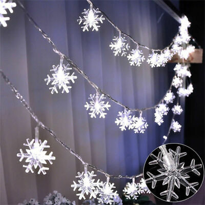 Battery Operated Halloween Decorations (Christmas Snowflakes Decorations Light Fairy 6M String Lights Battery)