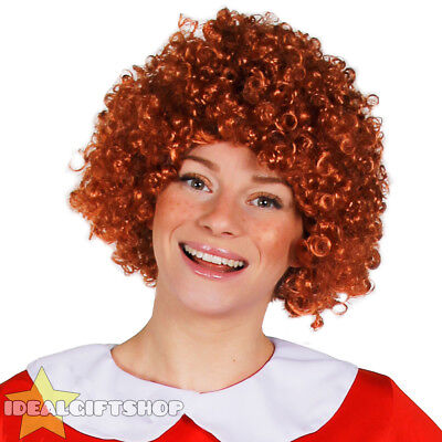 GINGER CURLY AFRO WIG 70'S MUSICAL ORPHAN GIRL FANCY DRESS COSTUME - Ginger Afro Wig