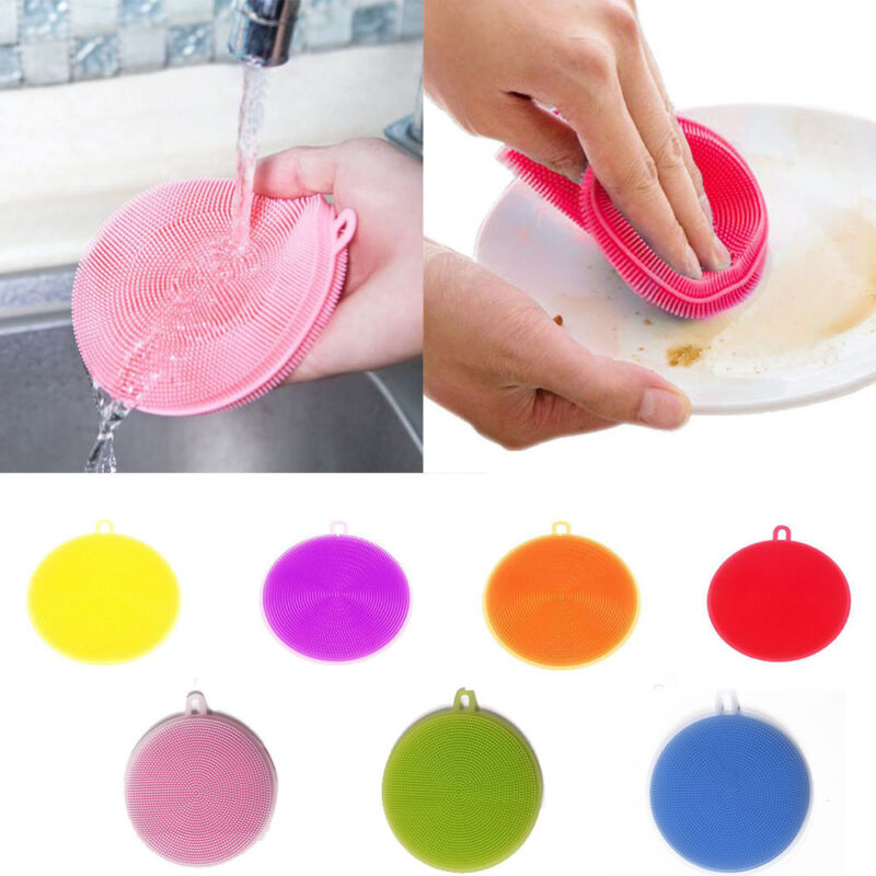 7 Stk Silikon Schwamm Scrubber Küche Werkzeug Schale Waschen Haushalt Reinigung