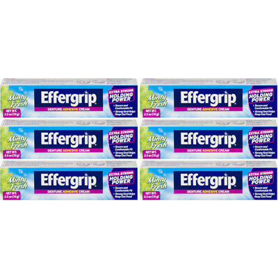 6 Pack Effergrip Extra Strong Denture Adhesive Cream Zinc Free 2.5oz Each Effergrip Denture Adhesive Cream