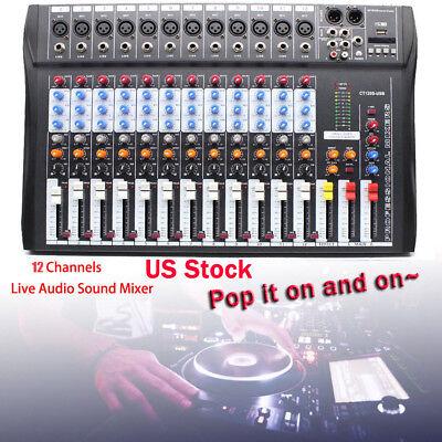 Professional USB 12 Channel Live Sound/Studio Mixing Board Mixer Live & Studio!!
