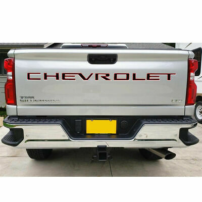 ABS 3D Domed BLACK/RED  Tailgate letters for Chevrolet Silverado 2019 2020