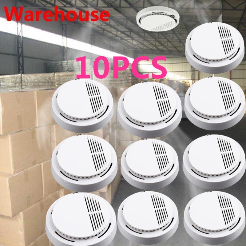 LOT 10 Wireless Smoke Detector Home Security Fire Alarm Sensor System