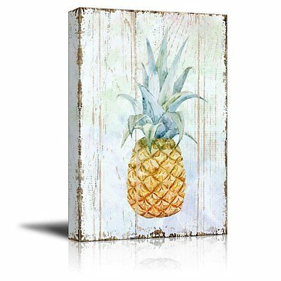 04 Canvas - wall26 - Canvas Wall Art - Pineapple on Wood Style Background - 12x18 inches