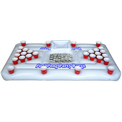 Inflatable Party Barge Floating Beer Pong Table Cooler- Pool Raft Drinking Games