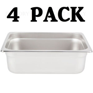 4 PACK Half Size Stainless Steel 4