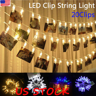 20 LED Hanging Picture Photo Peg Clip Fairy String Lights Party Home Xmas Decor (Led Hanging Lights)