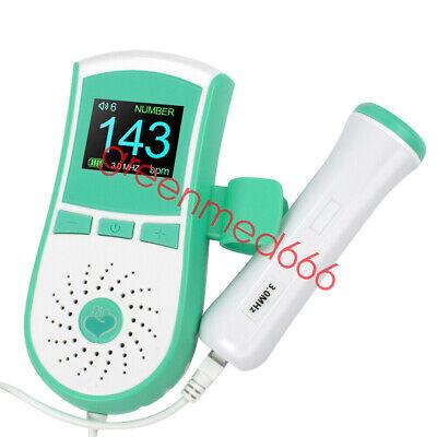 Pocket Fetal Doppler Prenatal Heart Rate Monitor Color Lcd 3mhz Probe Free Gel