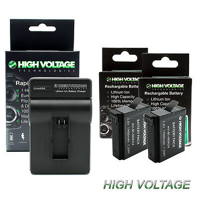 2 High Capacity Battery + Fast Charger for GoPro HERO4 AHDBT-401 Black & Silver