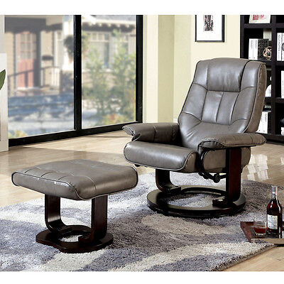 Leatherette Swivel Glider (Cheste Comfort Swivel Lounger Chair w/ Foot Ottoman Padded Leatherette)