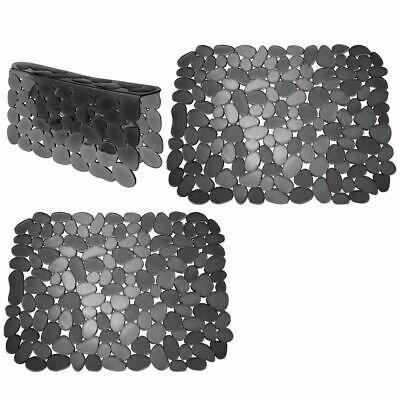 mDesign Plastic Kitchen Sink Protector Set - Pebble Design - Set of 3 - Black