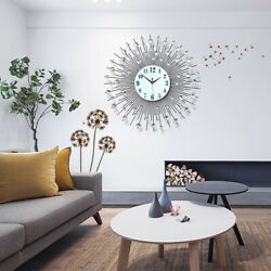 60cm Modern Large Round Wall Clock Diamond Metal Quartz Clock Glass Mirror Home