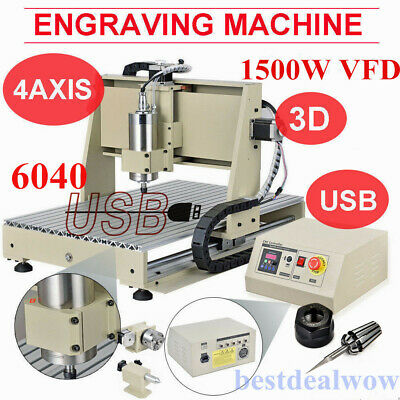 Usb 4axis 6040 Cnc Router Engraver 1.5kw Vfd Mill Engraving Metalworking Machine
